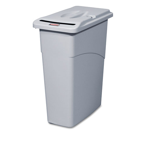 Slim Jim Confidential Document Receptacle w/Lid, Rectangle, 23gal, Light Gray