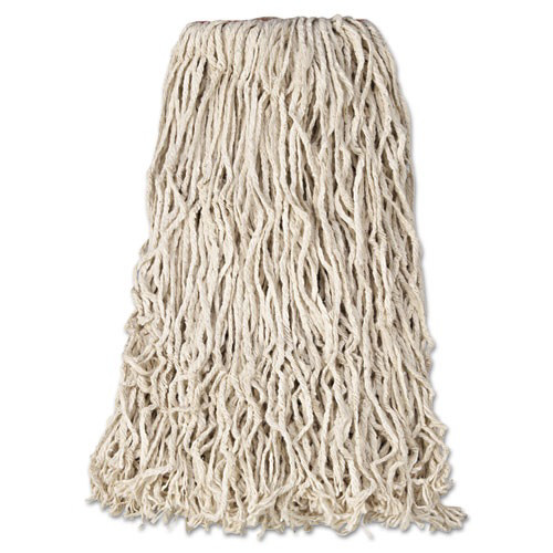 "Premium Cut-End Cotton Wet Mop Head, 24oz, White, 1"" Orange Band, 12/Carton"