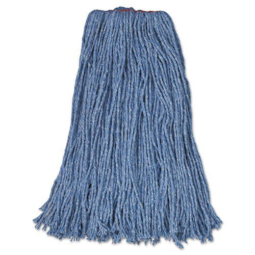 "Cotton/Synthetic Cut-End Blend Mop Head, 24oz, 1"" Band, Blue, 12/Carton"
