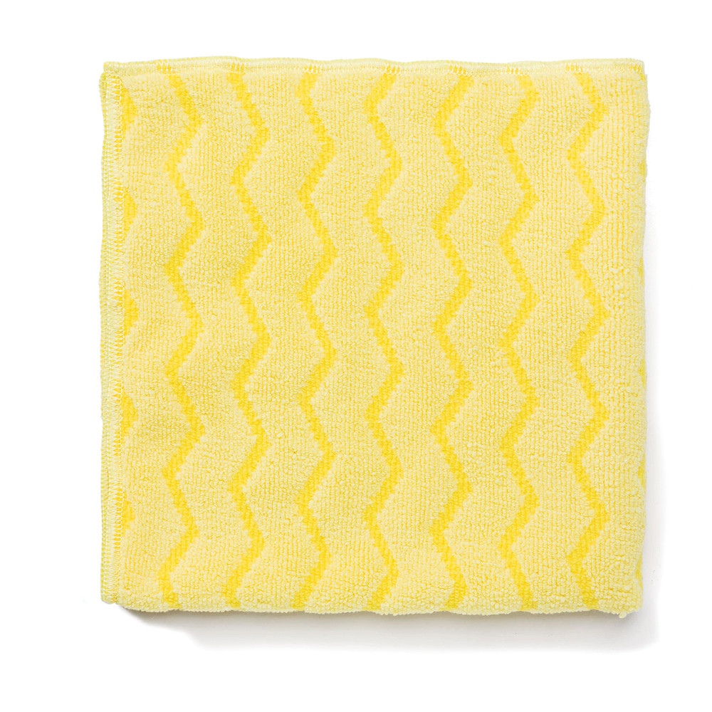 Reusable Cleaning Cloths, Microfiber, 16 x 16, Yellow, 12/Carton