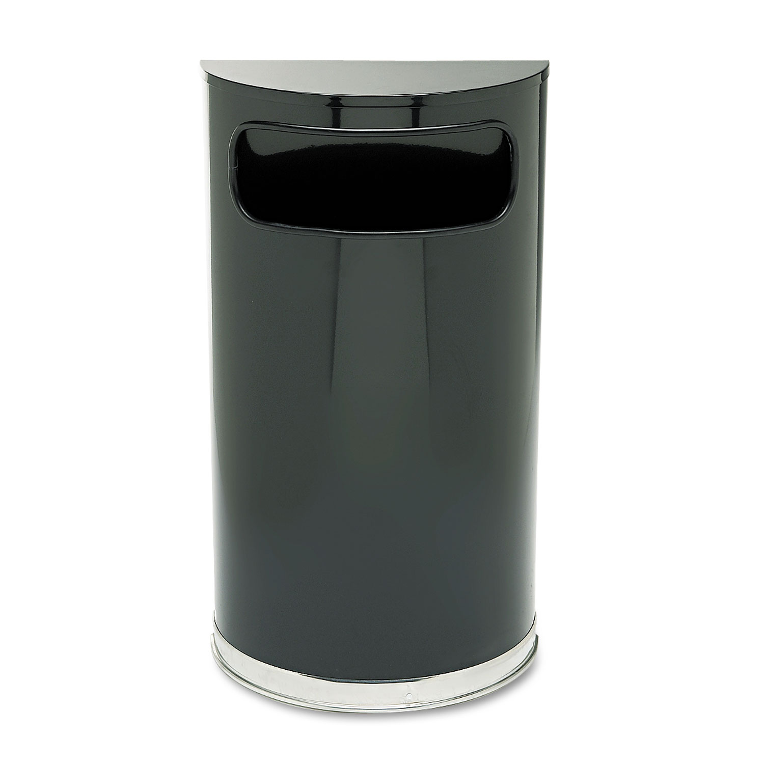 European & Metallic Series Receptacle, Half-Round, 9gal, Black/Chrome