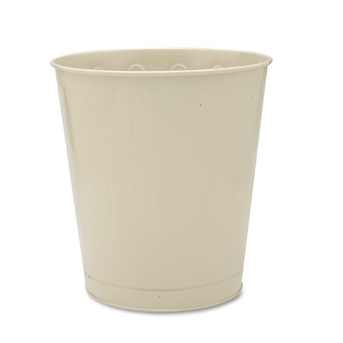Fire-Safe Wastebasket, Round, Steel, 6 1/2 gal, Almond