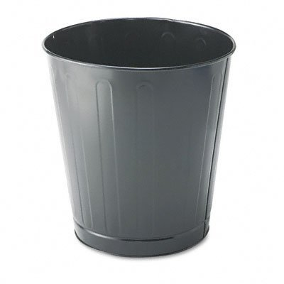 Fire-Safe Wastebasket, Round, Steel, 6 1/2 gal, Gray