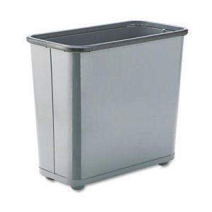 Fire-Safe Wastebasket, Rectangular, Steel, 7.5gal, Gray
