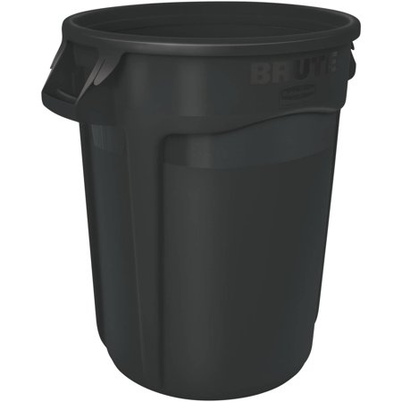 Round Brute Container, Executive Series, Plastic, 32 gal, Black, 6/Carton