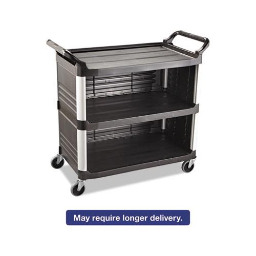 Xtra Utility Cart, 300-lb Cap, Three-Shelf, 20w x 40-5/8d x 37-4/5h, Black