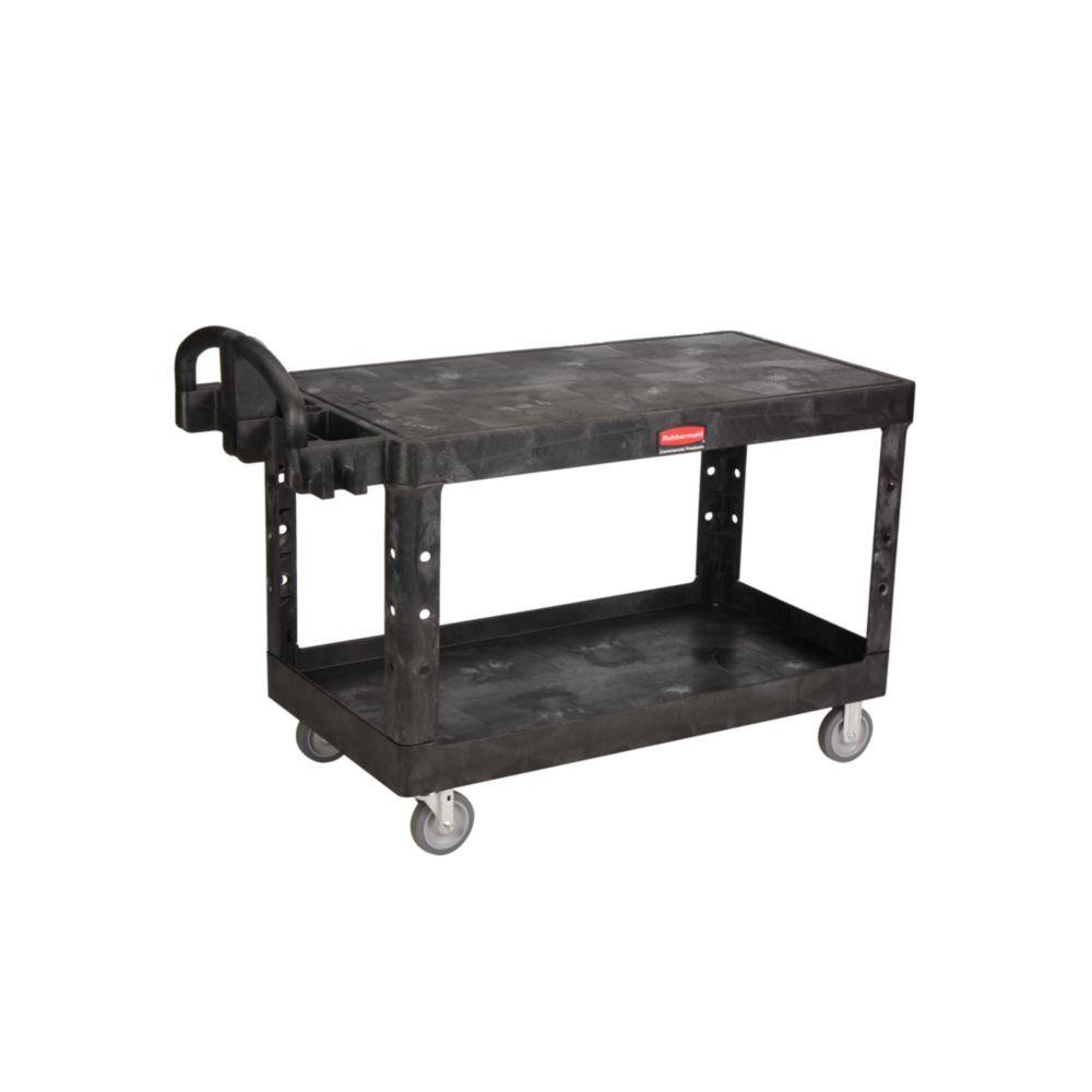 Heavy-Duty Utility Cart, Two-Shelf, 25-1/4w x 54d x 36h, Black
