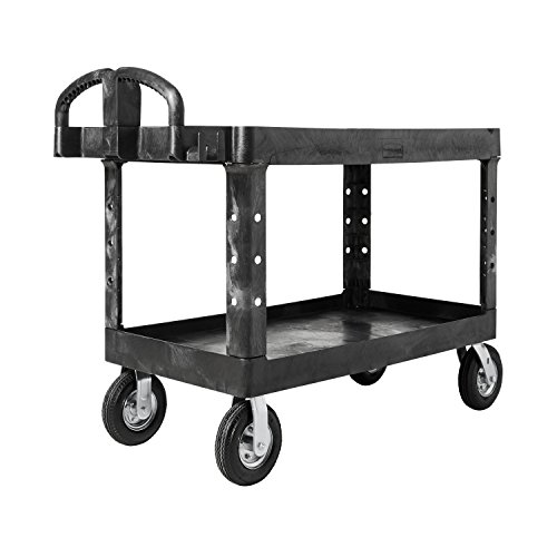 Heavy-Duty Utility Cart, Two-Shelf, 25-1/4w x 54d x 39-1/4h, Black