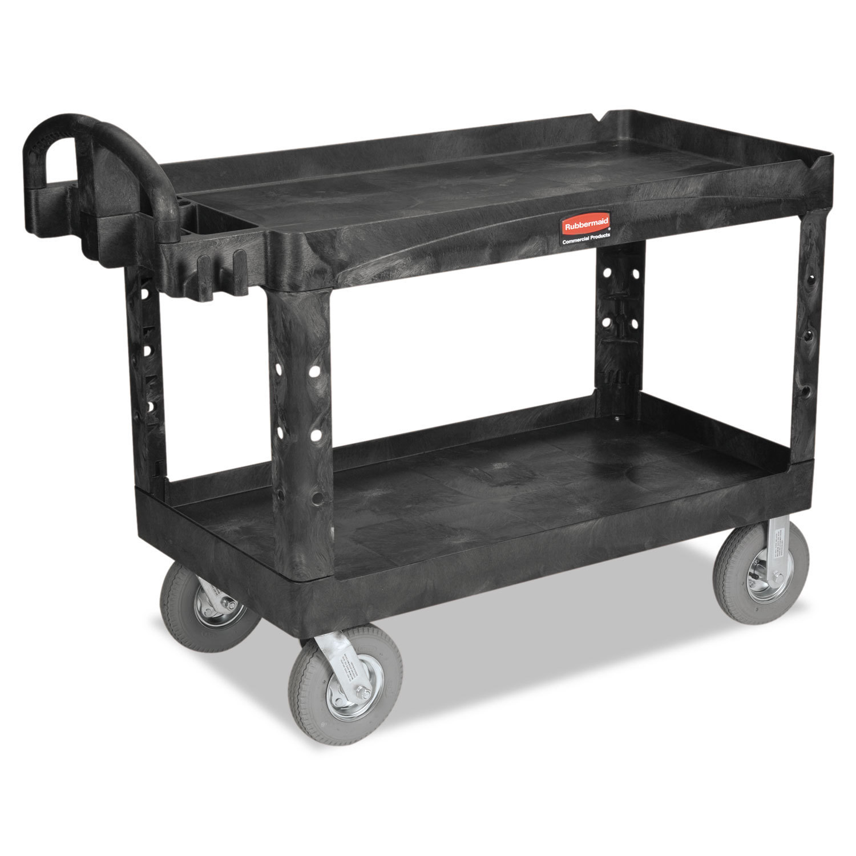Heavy-Duty Utility Cart, Two-Shelf, 26w x 55d x 33 1/4h, Black