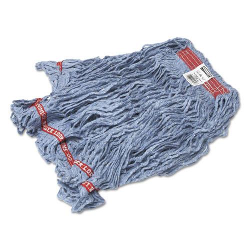Swinger Loop Wet Mop Heads, Cotton/Synthetic, Blue, Large, 6/Carton