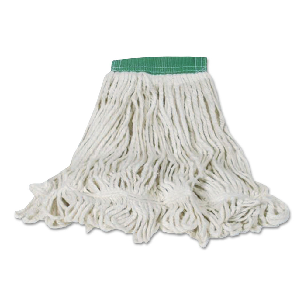 Swinger Loop Shrinkless Mop Heads, Cotton/Synthetic, White, Medium, 6/Carton