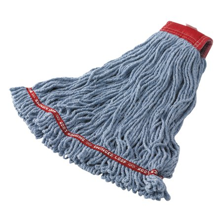 Swinger Loop Shrinkless Mop Heads, Cotton/Synthetic, Blue, Large, 6/Carton