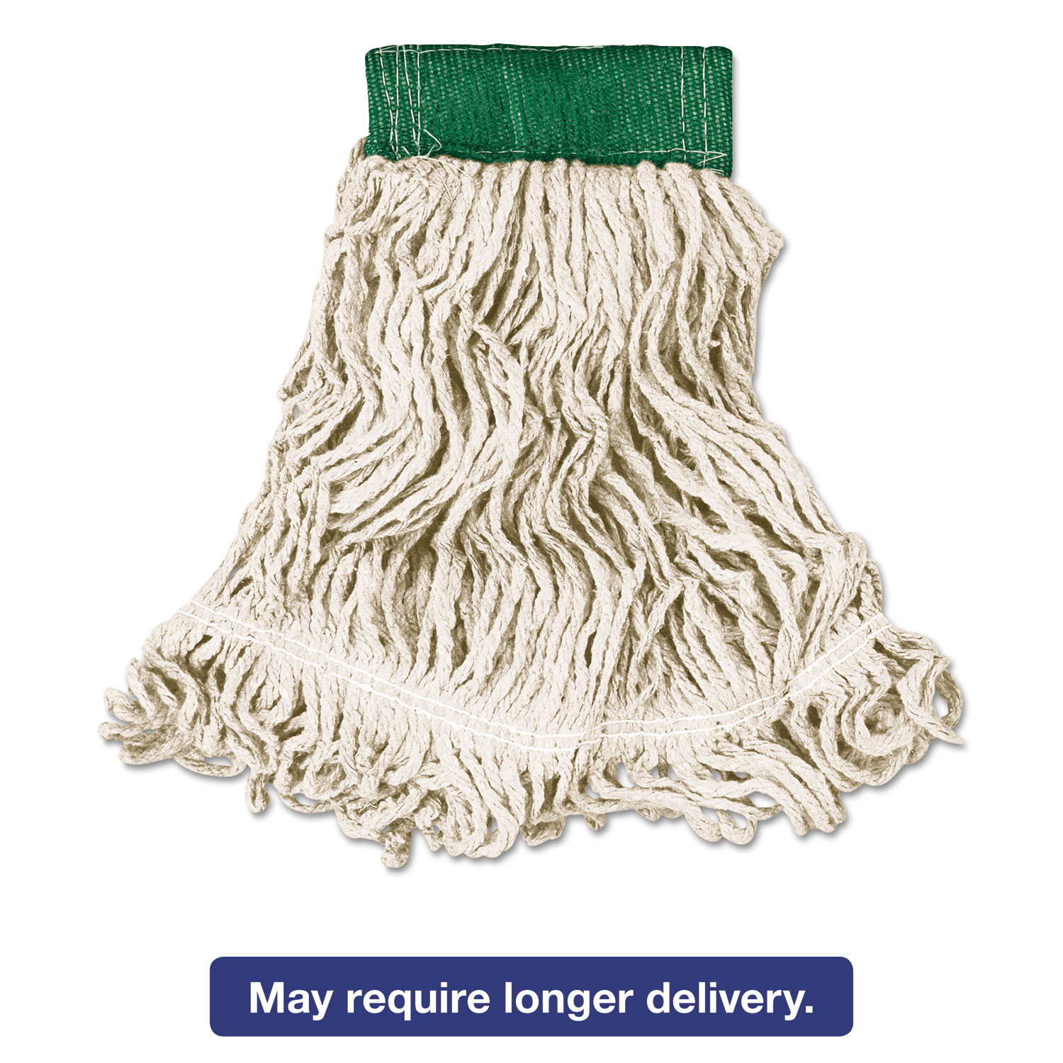 Super Stitch Looped-End Wet Mop Head, Cotton/Synthetic, Medium, Green/White
