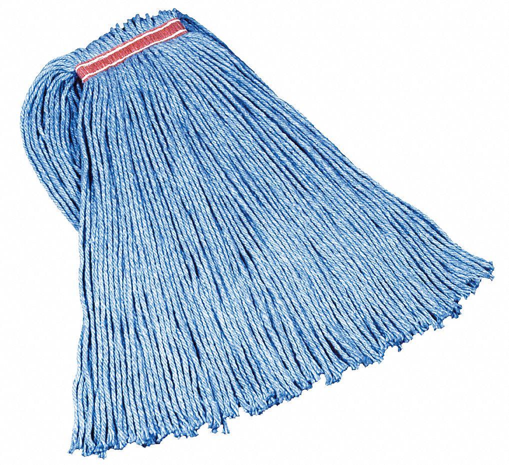 "Cotton/Synthetic Cut-End Blend Mop Head, 32oz, 1"" Band, Blue, 12/Carton"