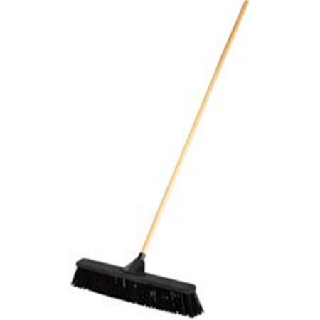 "Push Brooms, 24"", PP Bristles, For Rough Floor Surfaces, Black"