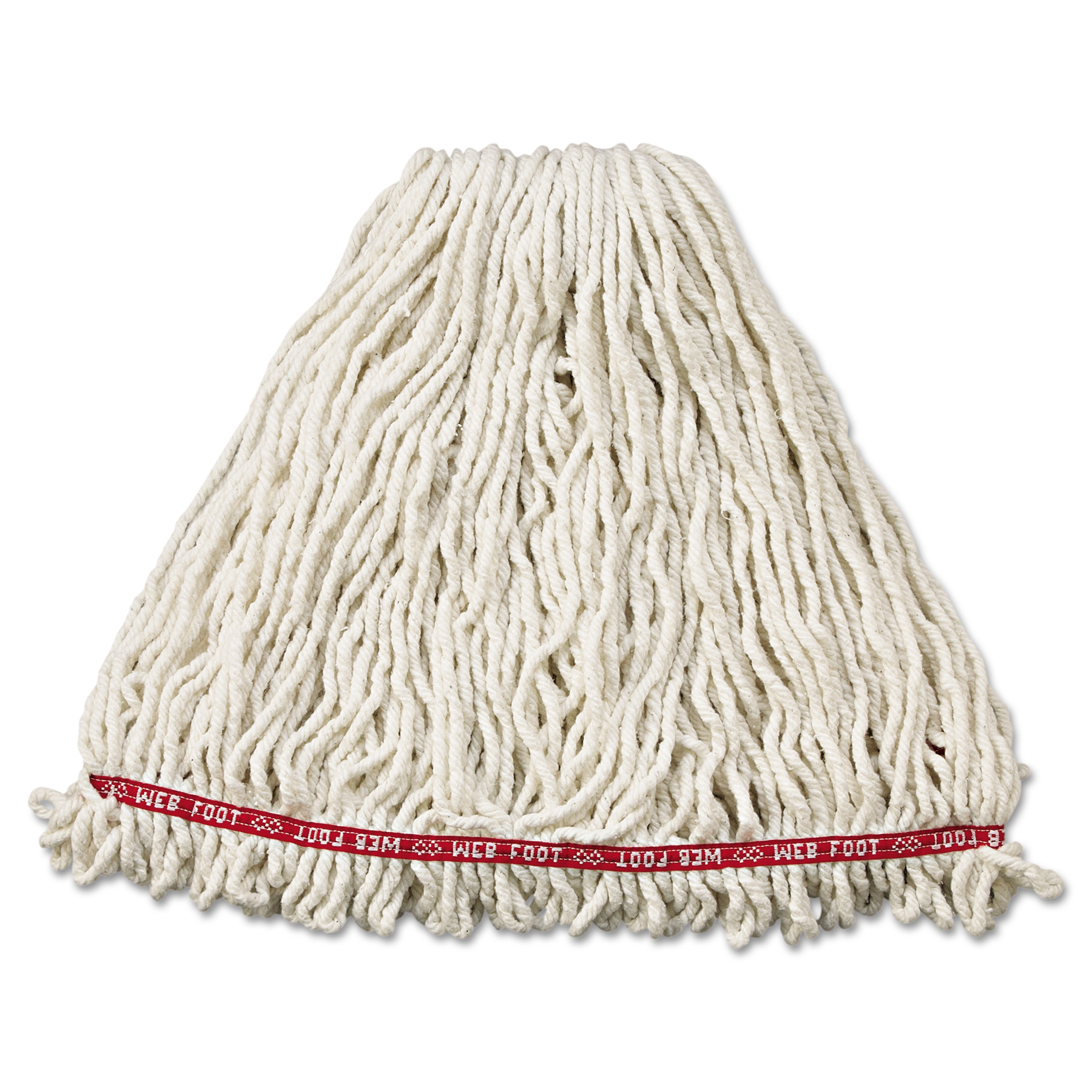 """Web Foot Shrinkless Looped-End Wet Mop Head, Cotton/Synthetic, Large, White, 1"""" White Headband"""