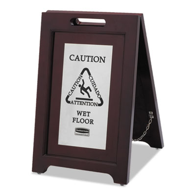 Executive 2-Sided Multi-Lingual Caution Sign, Brown/Stainless Steel,15 x 23 1/2