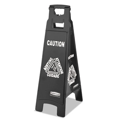 Executive 4-Sided Multi-Lingual Caution Sign, Black/White, 11 9/10 x 38