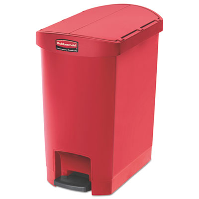 Slim Jim Resin Step-On Container, End Step Style, 8 gal, Red