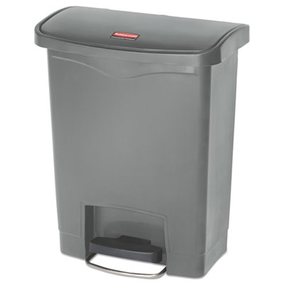 Slim Jim Resin Step-On Container, Front Step Style, 8 gal, Gray