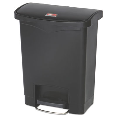 Slim Jim Resin Step-On Container, Front Step Style, 8 gal, Black