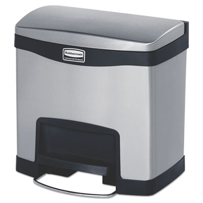 Slim Jim Stainless Steel Step-On Container, Front Step Style, 4 gal, Black