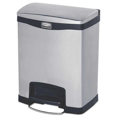 Slim Jim Stainless Steel Step-On Container, Front Step Style, 8 gal, Black