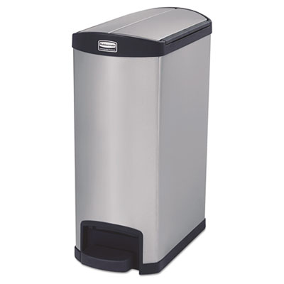 Slim Jim Stainless Steel Step-On Container, End Step Style, 13 gal, Black