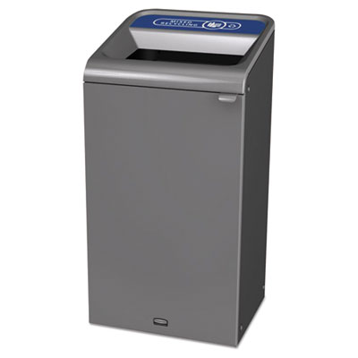 Configure Indoor Recycling Waste Receptacle, 23 gal, Gray, Mixed Recycling