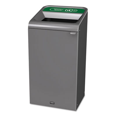 Configure Indoor Recycling Waste Receptacle, 23 gal, Gray, Organic Waste