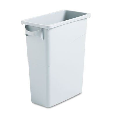 Slim Jim Waste Container w/Handles, Rectangular, Plastic, 15.875gal, Light Gray