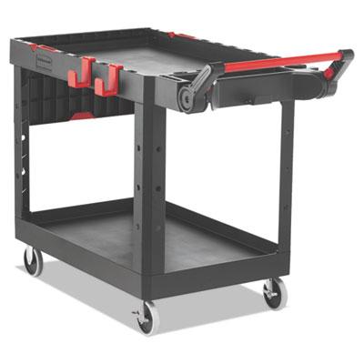 "Heavy Duty Adaptable Utility Cart, 2 Shelves, 25.2""w x 51.5""d x 36""h, Black"