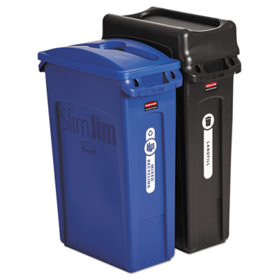 Slim Jim Recycling Container, Rectangular, 23 gal, Black/Blue