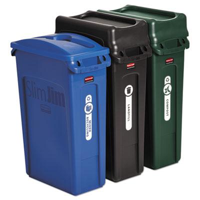 Slim Jim Recycling Container, Rectangular, 23 gal, Black/Blue/Green