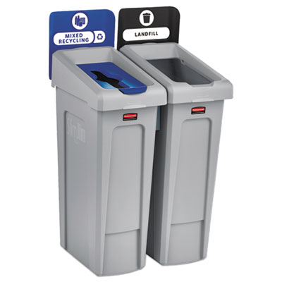 Slim Jim Recycling Station Kit, 46 gal, 2-Stream Landfill/Mixed Recycling