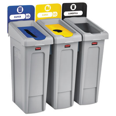Slim Jim Recycling Station Kit, 69 gal, 3-Stream Landfill/Paper/Bottles/Cans