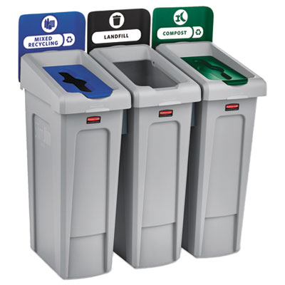 Slim Jim Recycling Station Kit, 69 gal, 3-Stream Landfill/Mixed Recycling