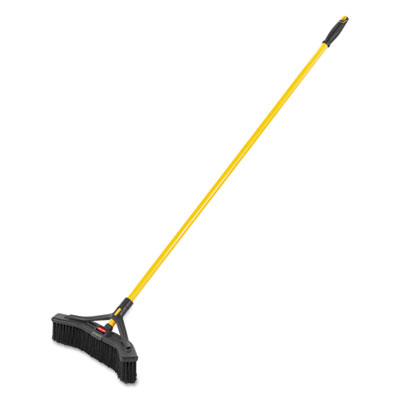 "Maximizer Push-to-Center Broom, 18"", Polypropylene Bristles, Yellow/Black"
