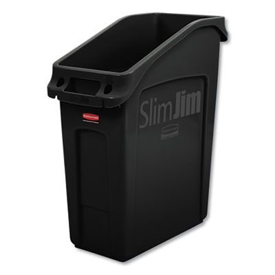 Slim Jim Under-Counter Container, 13 gal, Polyethylene, Black