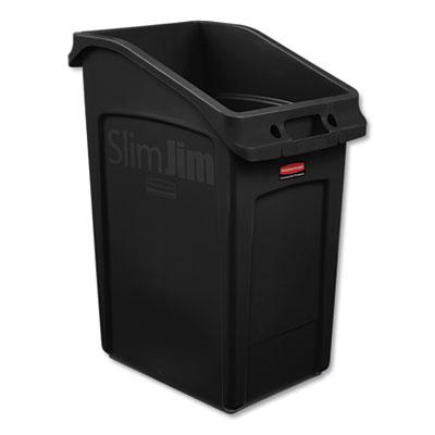 Slim Jim Under-Counter Container, 23 gal, Polyethylene, Black