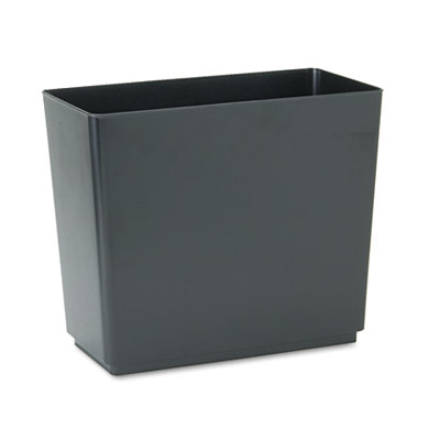 Designer 2 Wastebasket, Rectangular, Plastic, 6.5gal, Black, 6/Carton