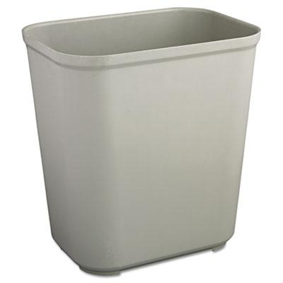 Fire-Resistant Wastebasket, Rectangular, Fiberglass, 7gal, Gray