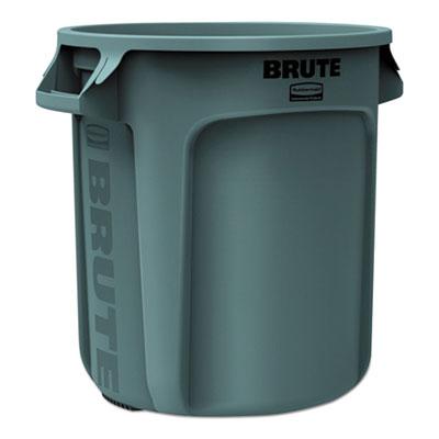 Round Brute Container, Plastic, 10 gal, Gray