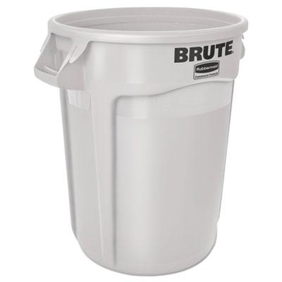 Round Brute Container, Plastic, 10 gal, White