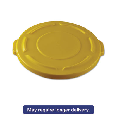 """Round Flat Top Lid, for 20-Gallon Round Brute Containers, 19 4/5"""", dia., Yellow"""