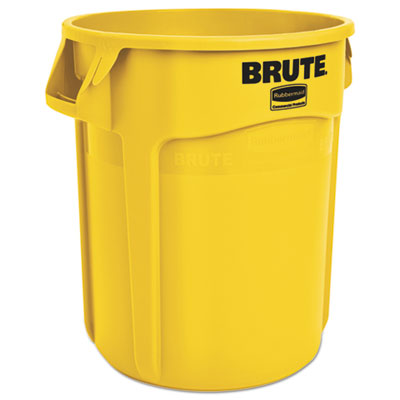 Round Brute Container, Plastic, 20 gal, Yellow