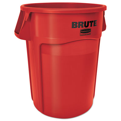 Brute Vented Trash Receptacle, Round, 44 gal, Red, 4/Carton