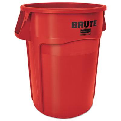 Brute Vented Trash Receptacle, Round, 44 gal, Red