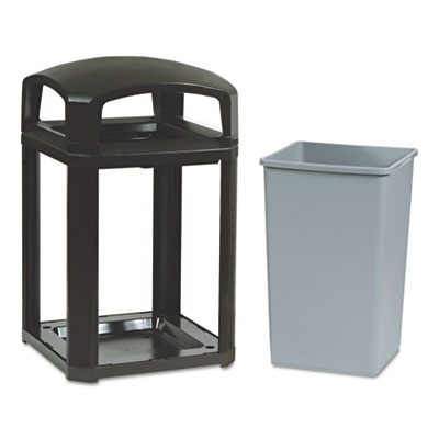 Landmark Series Classic Dome Top Container, Plastic, 35 gal, Sable