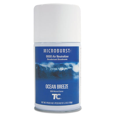 Microburst 9000 Air Freshener Refill, Ocean Breeze, 5.3oz, Aerosol, 4/Carton